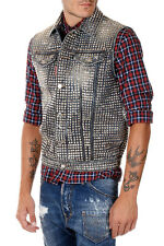 DSQUARED2 D2 Man Studded Denim Vest Made in Italy New with Tags and Original