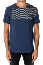 GOLDEN GOOSE DELUXE New Men blue cotton Jersey Glitter Tee T-shirt Made in Italy