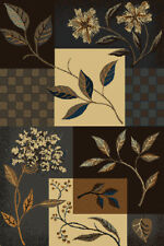CASUAL blue BROWN tan PATCHWORK floral BLOCKS squares CHECKERED leaves CARPET