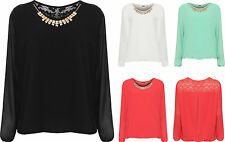 Plus Womens Necklace Chiffon Party Top Ladies Bubble Hem Sheer Lined Long Sleeve