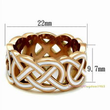White Epoxy Enamel hand-painted Steel Ring Rose Gold Plated r8041