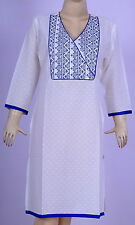 Ethnic White Color Kurti Cotton Tunic Top Suit Casual Wear Kurta Indian Dress