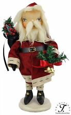 "Primitive Folk Art Joe Spencer Christmas 16"" Rupert Santa Claus w/ Sack & Tree"