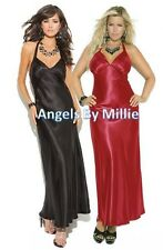 Long Nightgown Satin Women Plus Lingerie Gown Red Black Halter Low Back Sexy