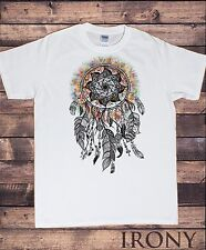 Men's White T-Shirt Tribal Red Indian Native American Feathers Culture TS540