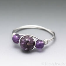 Lepidolite & Amethyst Sterling Silver Wire Wrapped Bead Ring