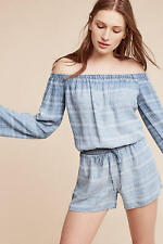 NWOT Anthropologie Striped Chambray Off-The-Shoulder Romper Sz XS L  0 2 10 12