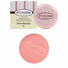 #03 Shine Coral_Rivecowe Shine Blusher Cheek Make Up Herbal Extracts Powder New