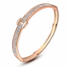 Women Lady Noble 18K Rose Gold Austrian Crystal H Type Bangle Bracelet