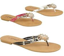 Womens Ladies Sandals Diamante Summer Beach New Slip On Flat Wedding Shoes Size