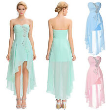 GK Pale Turquoise Chiffon Sweetheart High-Low Evening Gown Sequined Party Dress
