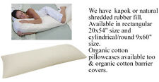 Organic All Natural Cotton NONZIP Outer KAPOK or SHREDDED RUBBER BODY Bed Pillow