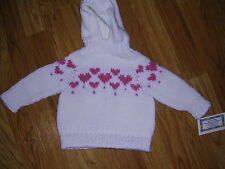 NEW! Hand Knit Baby Valentine Heart Sweater back zipper 6 or 12 month White pink