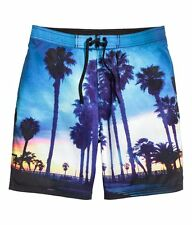 H&M MENS SWIM SHORTS PRINTED BEACH SUNSET PALM TREE SMALL NEW