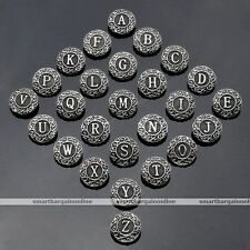 10pc A-Z Letter Alphabet Click Bead Snap On Button Fit Charm Bangle Bracelet DIY