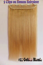 120G 16''~26'' 5Clips One Hairpiece Clip In Real Human Hair Extension #22 Blonde