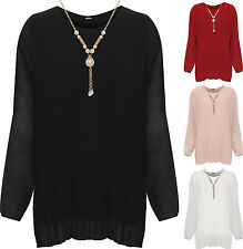 Plus Womens Necklace Party Top Ladies Pleated Chiffon Long Sleeve Stretch