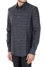 GOLDEN GOOSE New Men Checked Popeline Cotton Shirt Made in Italy NWT