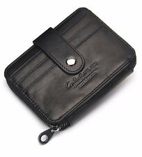 Real Leather Thin ID Card Case Holder Coin Purse Money Clip Wallet Gift Mens