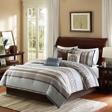 7pc Blue Brown Geometric Comforter Bed Skirt Pillow Shams AND Pillows