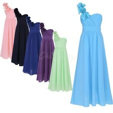 Kids One-shoulder Flower Girl Dress Bridesmaid Birthday Chiffon Party Dress
