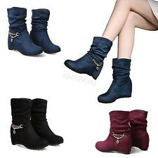 NEW Womens Ladies High Heel Mid-Calf Boots Shoes Wedge Slouchy AU Size YB3947