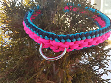 Paracord Dog/Puppy Collar Sanctified Weave - Turquoise/Black/Neon Pink