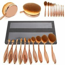 New 10Pcs Rose Gold Elite Oval Cream Puff Power Toothbrush Shaped Makeup Brushes