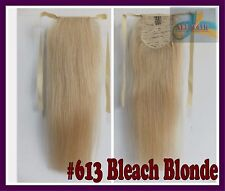 Bleach Blonde 140g One Hairpiece Ponytail Clip In 100%Real Human Hair Extensions