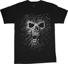 Spider web skull design t-shirt for men skulls decal biker gothic halloween tee