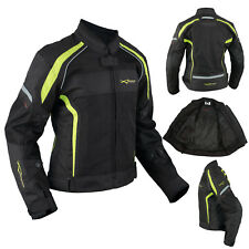 Ladies Textile Jacket Motorcycle Motorbike Armour CE Breathable Summer Fluo
