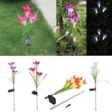 Solar Power Lily 3 LEDs Light Garden Yard Stake Path Patio Landscape Lamp Decor