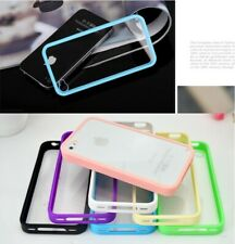 Bumper Frame TPU Case PC Clear Back Cover for iPhone 4 4S+Free Screen Protector