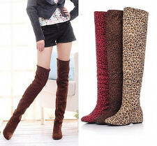 Womens Ladies Leopard Print Thigh High Over the Knee Slouch Stretchy Boots Shoes