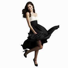 Sweetheart Two Tone Mid-calf Bridesmaid Cocktail Party Dress Soft Satin Black