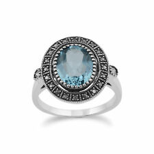 Gemondo Sterling Silver Blue Topaz & Marcasite Antique Style Cluster Ring