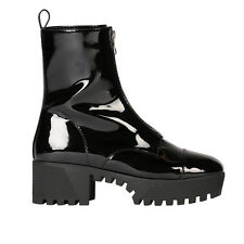 Womens Zip Up Front High Top Chunky Platform Ankle Boots in Black Patent UK 3-8