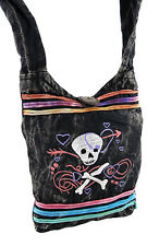 Stonewashed Girly Skull and Crossbones Cross Body Bag