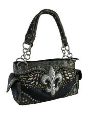 Rhinestone Fleur De Lis Metallic Trim Studded Concealed Carry Purse