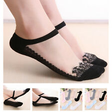 1 Pair Fashion Women Lace Solid Sexy Short Invisble Ankle Transparent Boat Socks