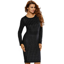 Women's Fashion Hot Drill Round Neck Long Sleeve Split Hem Plus Size Slim Dress