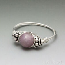 Light Lepidolite Bali Sterling Silver Wire Wrapped Bead Ring
