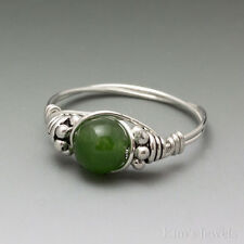 Canadian Jade Bali Sterling Silver Wire Wrapped Bead Ring