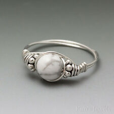 White Howlite Bali Sterling Silver Wire Wrapped Bead Ring