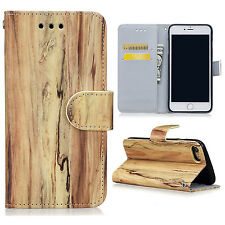 For iPhone 6 6s 7 Plus Wood Grain Flip PU Leather Wallet Card Pouch Case Cover
