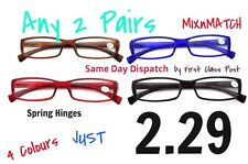 TN04    ANY 2 PAIRS Spring Hinged BARGAIN BASEMENT Reading Glasses +1.5+2.0+2.5
