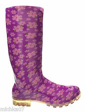 Womens Ladies Girl Purple Floral Rain snow Welly Boots Festival Size 4 5 6 6.5 7