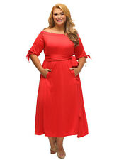 Fashion Women's Sexy Boat Neck Half Sleeve High Waist Tied Plus Size Loose Dress