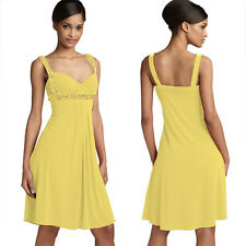 Sexy Beaded Knee Length Formal Cocktail Party Club Prom Dress Light Yellow