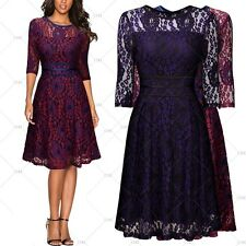 MIUSOL Women Vintage 1950s Cocktail Evening Party Floral Lace Slim Pleated Dress